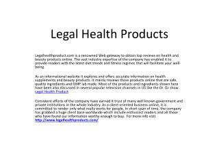 Legal Health Products – Today's Latest Health and Beauty Products