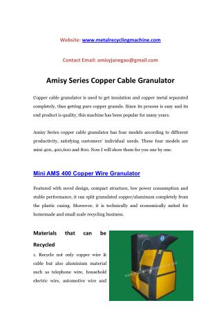Amisy Series Copper Cable Granulator