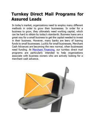 Turnkey Direct Mail Programs for Assured Leads