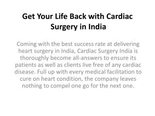 Get Your Life Back with Cardiac Surgery in India