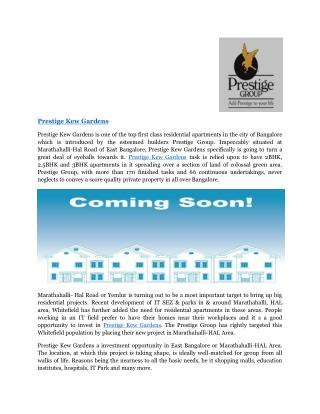 Prestige Kew Gardens |Marathahalli| Pre Launch |Bangalore