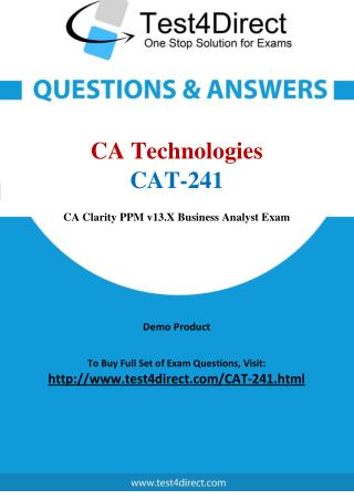 CA Technologies CAT-241 Exam - Updated Questions