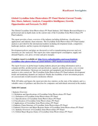 Crystalline Solar Photovoltaics PV Panel Market Strategies And Forecast To 2015