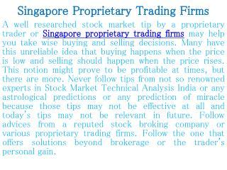 Singapore Proprietary Trading Firms