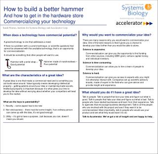 How to build a better hammer And how to get in the hardware store Commercializing your technology