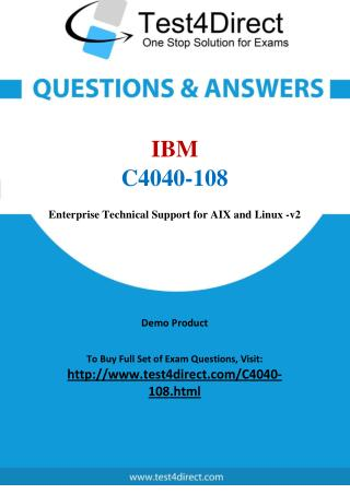 C4040-108 IBM Exam - Updated Questions