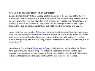 How Much do You Know about Sothink DVD Creator