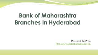 MICR code for Bank of Maharashtra Branches In Hyderabad
