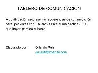 TABLERO DE COMUNICACI N