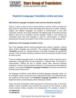 Kashmiri Language Translation online Services Guide stargrouptranslators.in