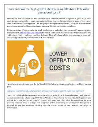 Did you know that high-growth SMEs running ERPs have 11% lower operational costs?