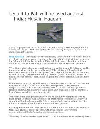 US aid to Pak will be used against India: Husain Haqqani