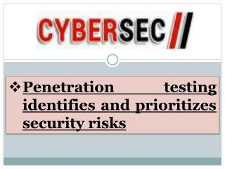 Penetration Testing Identifies and Prioritizes Security Risks