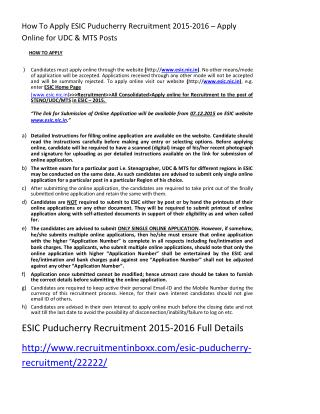 How to Apply ESIC Puducherry Recruitment 2015-2016 – Apply Online for UDC & MTS Posts