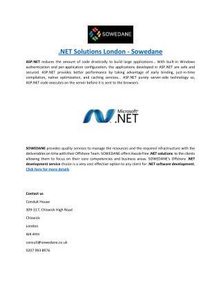 .NET Solutions London - Sowedane