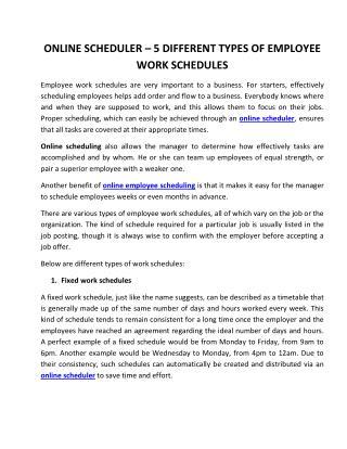 Online Scheduler – 5 Different Types of Employee Work Schedules