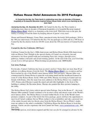 Hofsas House Hotel Announces its 2016 Packages