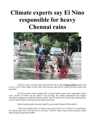 Climate experts say El Nino responsible for heavy Chennai rains