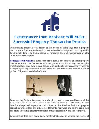 Conveyancer from Brisbane Will Make Successful Property Transaction Process
