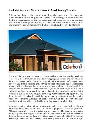 Roof Maintenance is Very Important to Avoid Roofing Troubles