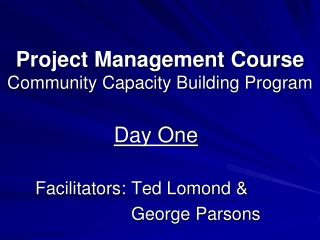 Project Management Course Community Capacity Building Program