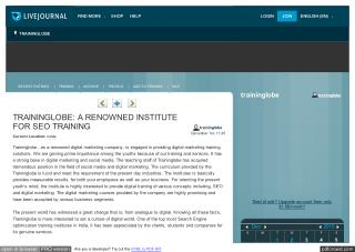 TRAININGLOBE: A RENOWNED INSTITUTE FOR SEO TRAINING