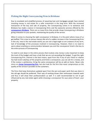 Picking the Right Conveyancing Firm in Brisbane