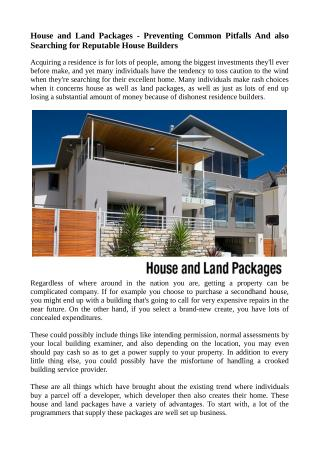 House and Land Packages - Preventing Common Pitfalls And also Searching for Reputable House Builders