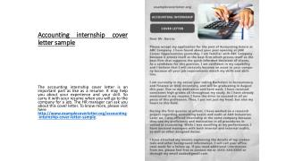 Accounting internship cover letter sample