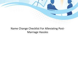 Name Change Checklist For Alleviating Post-Marriage Hassles