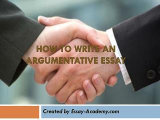 How do we write an argumentative essay
