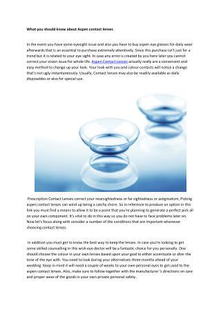 aspen contact lenses