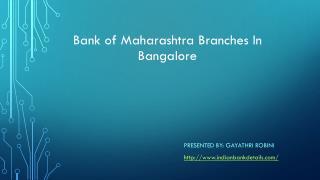 Bank of maharashtra branches bangalore Rural