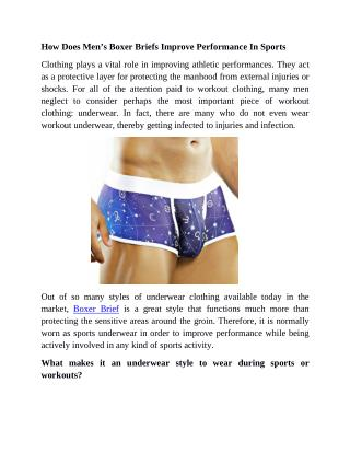 How Does Men's Boxer Briefs Improve Performance In Sports