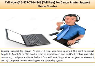 Canon Support Number  ||| 1-877-776-4348