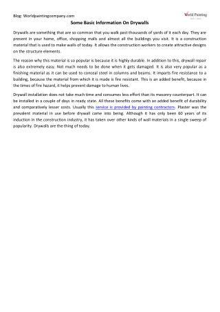 Some Basic Information On Drywalls