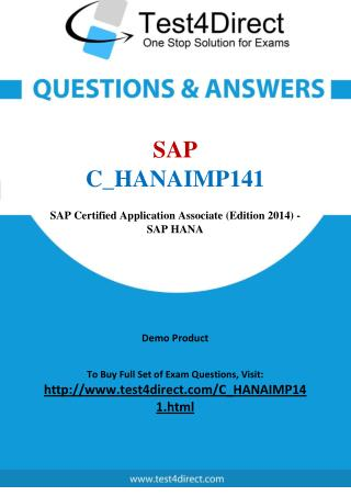 SAP C_HANAIMP141 Test - Updated Demo