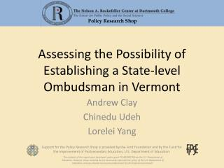 Assessing the Possibility of Establishing a State-level Ombudsman in Vermont