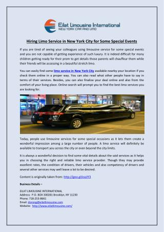 Hiring Limo Service in New York City for Some Special Events