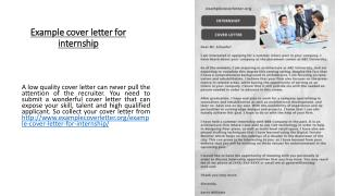 Example cover letter for internship