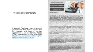 Freelance cover letter sample