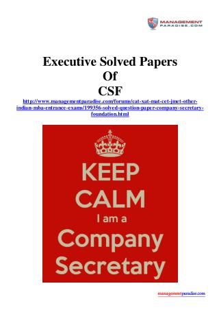 Executive Solved Papers of CSF