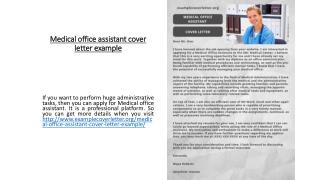 Medical office assistant cover letter example