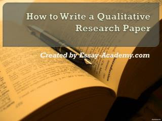 How to write a Qualitative Research Paper