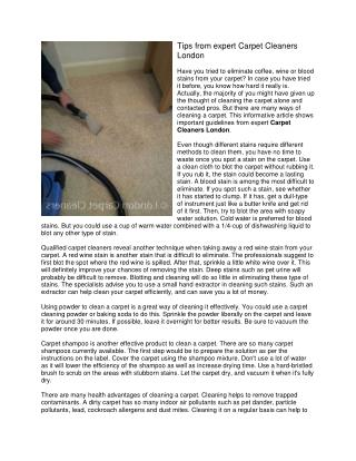 Tips from expert Carpet Cleaners London