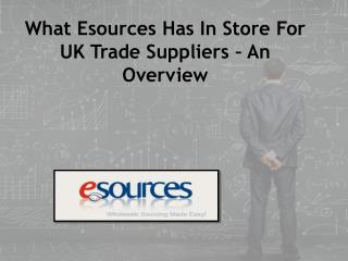What Esources Has In Store For UK Trade Suppliers – An Overview