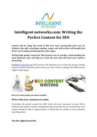 Intelligent-networks.com: Writing the Perfect Content for SEO
