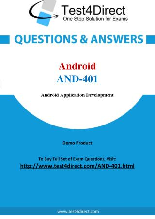 AND-401 Android Exam - Updated Questions