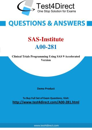 SAS Institute A00-281 Test Questions