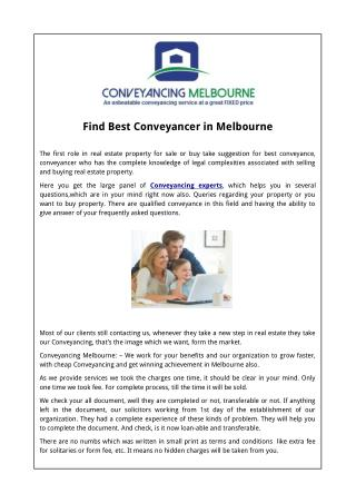 Find Best Conveyancer in Melbourne